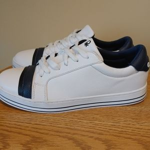 Benetton Women's Lace Sneakers White And Navy blue size 41/10